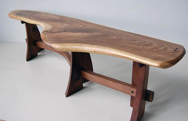 6 legged Sloop bench series walnut top on walnut base  available 54 to 72 inches long, assorted hardwoods on walnut and cherry bases
