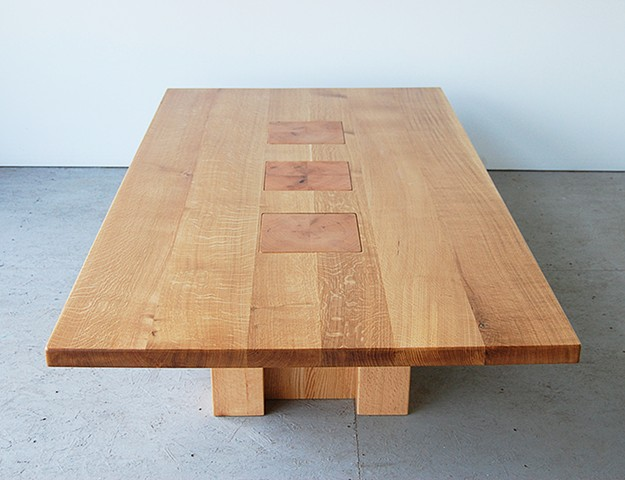 """Topography series coffee table, white oak on red oak posts.  42 x 84"""" ."""