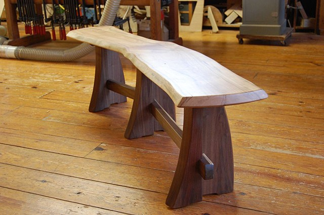 "6 legged Sloop bench Walnut base with elm top 54 to 72"" long  available in assorted hardwoods on walnut and cherry bases"