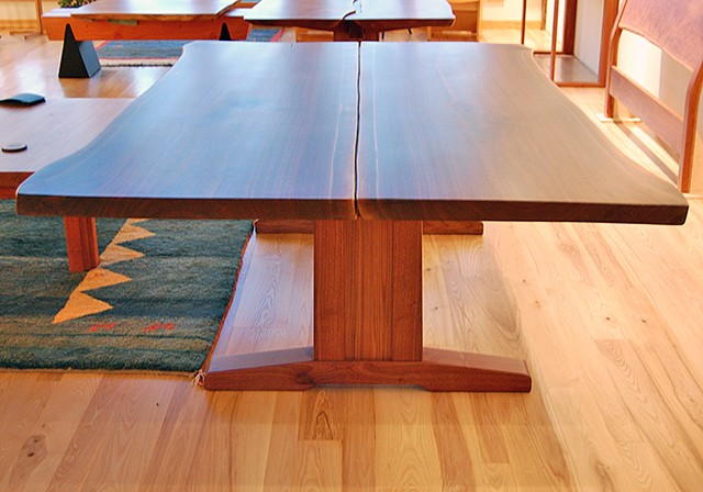 "Walnut Trestle Table, book matched walnut slabs 60 x 100 x 30 "" h."