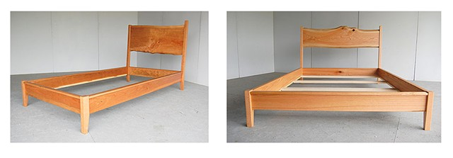 Organic slab beds  Left:  Twin size in cherry - one of a book-matched pair  Right:  Queen size in red oak