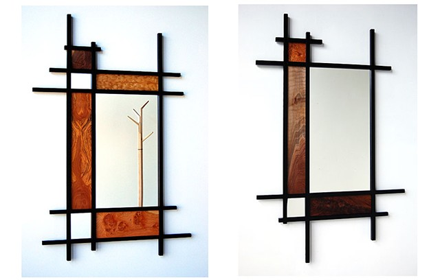 Rural Grid Mirrors  black finish  Assorted woods and sizes available