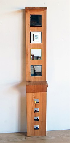De Stijl Tribute hall mirror.  Poplar with painted background and painted wooden balls 13 wide x 75 inches high with Zig Zag shelf.