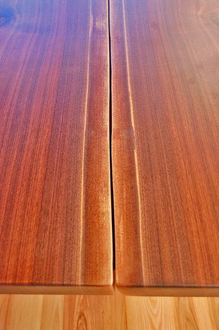 Detail - Walnut Trestle Table top. Book matched walnut slabs.
