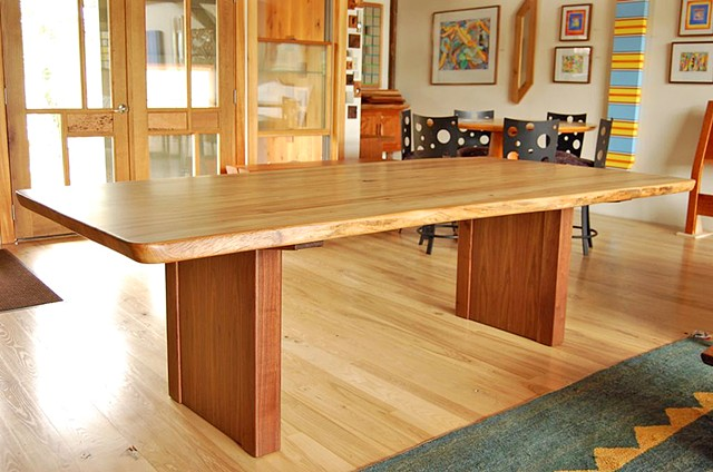 Elm dining table with walnut slab base.