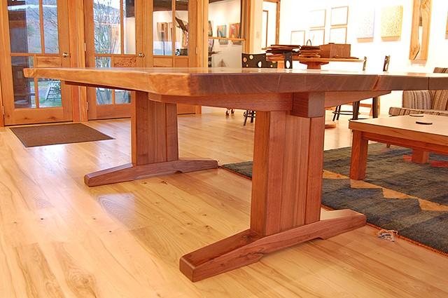 """Walnut Trestle Table, book matched walnut slabs 60 x 100 x 30 """" h."""
