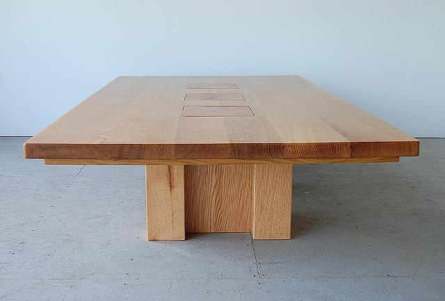 "Topography series coffee table, white oak on red oak posts.  42 x 84"" ."