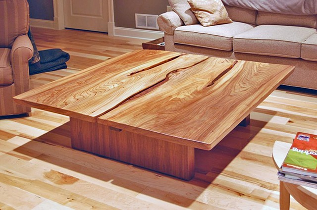 Book-matched coffee table - installed