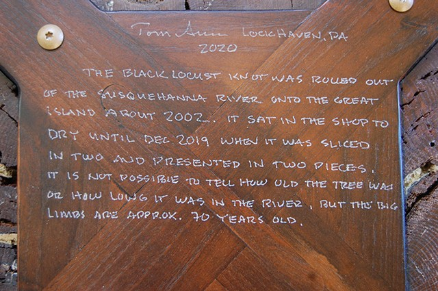 Lumpy the River Knot Coffee Table in two parts - inscription.