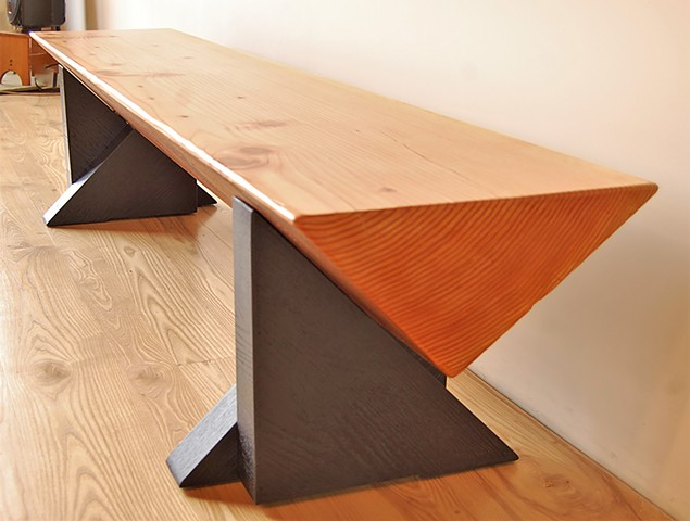 Isosceles Timber Bench, Douglas Fir with black-painted triangular legs.   15 x 90 x 18 high