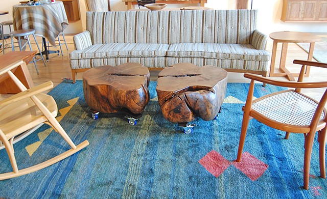 Lumpy the River Knot Coffee Table in two parts.