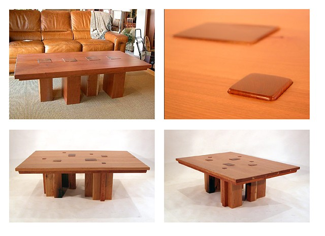 Two examples and detail of Topography Coffee Table series.  Both in cherry.