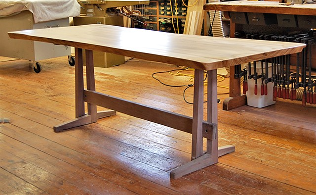 Straight-leg Trestle Table with one-piece Penn State Elm top. on walnut base (unfinished) 43 x88 x 30 h.