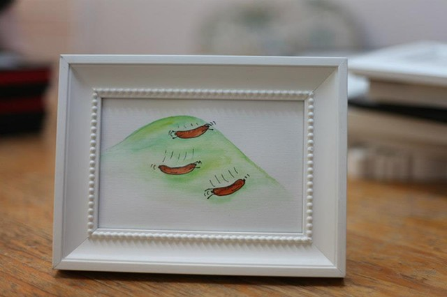 Framed watercolour of food people