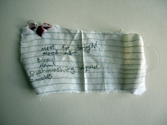 Hand Embroidered shopping list