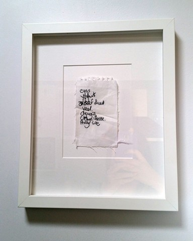 Hand Embroidery of Found Shopping List