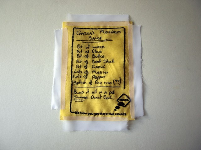 Hand embroidered found recipe