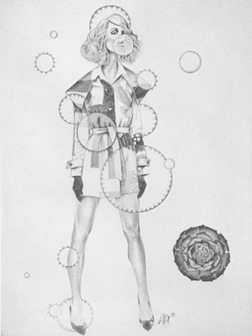 Lady with Cactus Bubbles