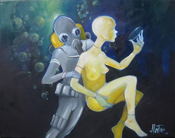 underwater scene scuba mannequin oil painting alex rios