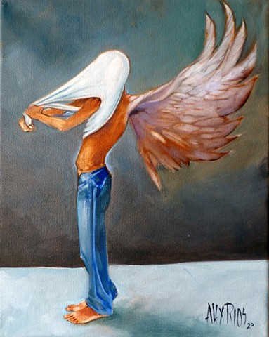 wings angel barefoot man city street