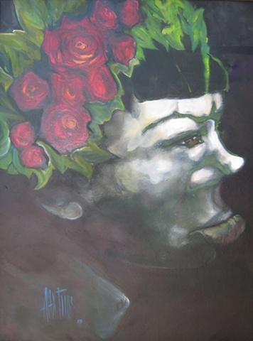 frida kahlo portrait oil painting alex rios