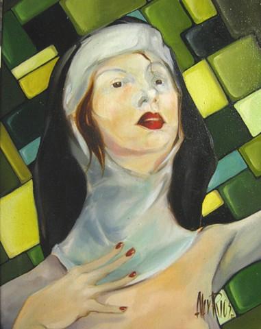 weird nun oil painting alex rios