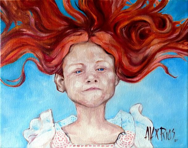 girl redhead white dress young hair
