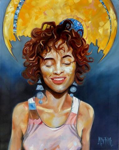 woman Aztec gold brunette