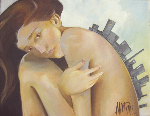 girl cityscape oil painting alex rios