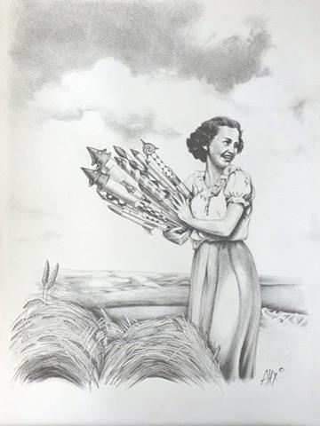 fireworks vintage field woman
