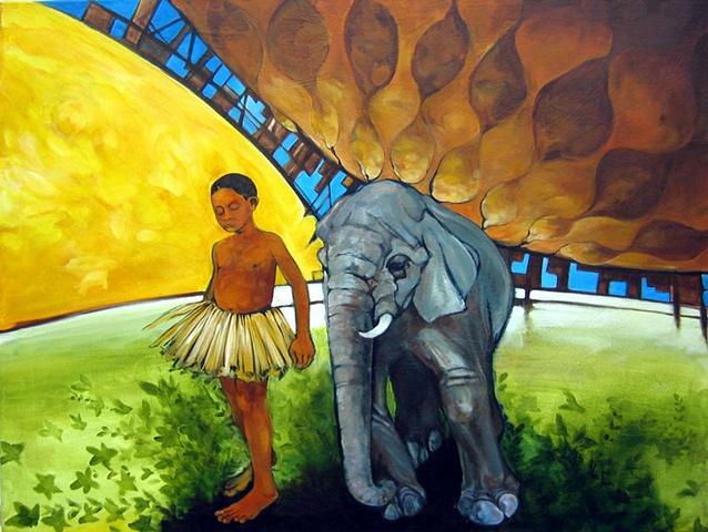 elephant african portrait oil painting alex rios
