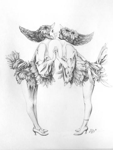 flapper girl woman bird dancers