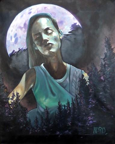 moon luna moonlight woman glow night