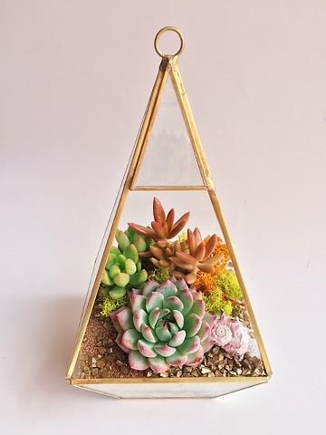 Gold geometric terrarium $54