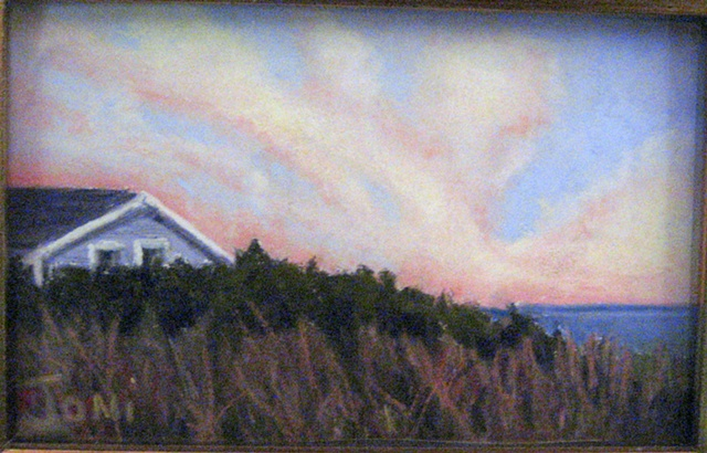 pastel painting, Cape Cod, Salt Works road, Eastham, cottage