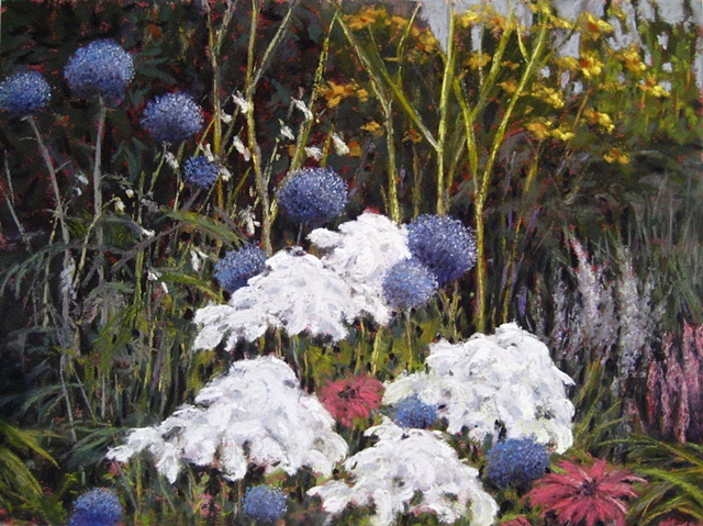 Pastel painting of a Provincetown garden