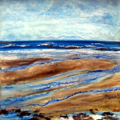 encaustic landscape, beach, outgoing tide, sand flats, waves