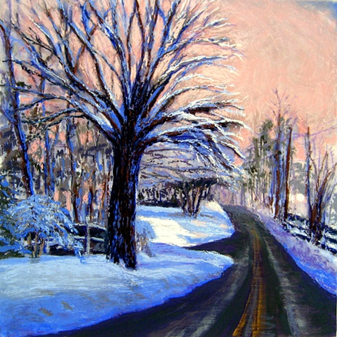 Pastel painting of a pink winter dawn and snow covered trees