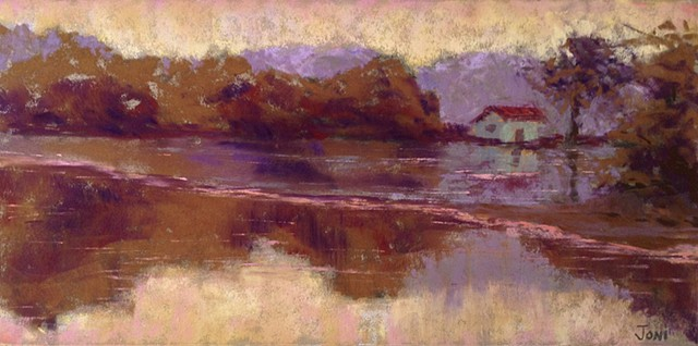 Impressionist color study of a rural landscape, bog house, water reflections