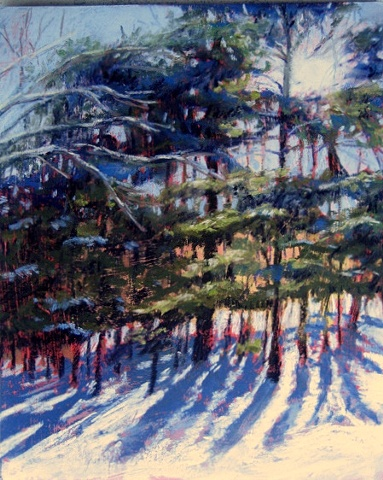 pastel painting of winter snow in the backyard