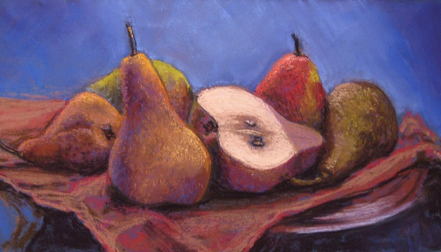pastel painting, still life of pears, pears, still life, autumn fruit