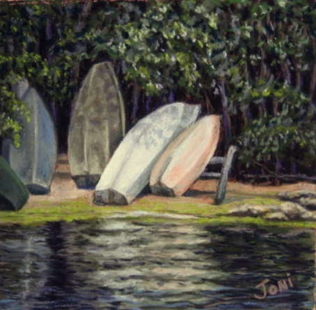 pastel painting, bass river, dinghy, boats, river, Cape Cod