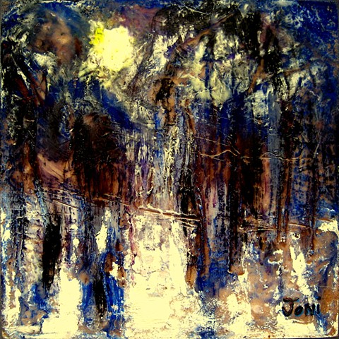 encaustic landscape, moonrise, trees, night scene, winter
