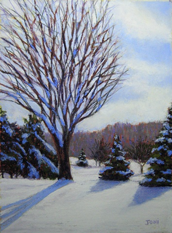 pastel painting, winter landscape, snow, bare trees