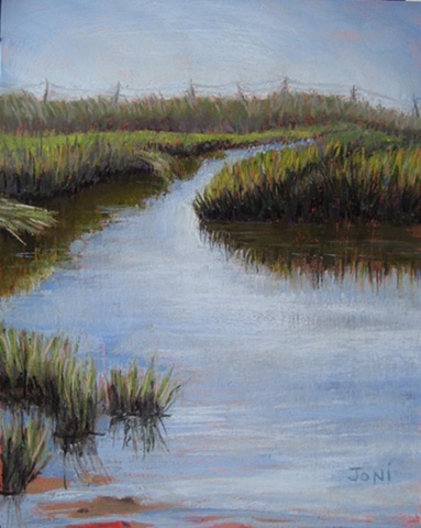 Pastel painting of the swimming hole on Gurnet Point, near Duxbury Beach