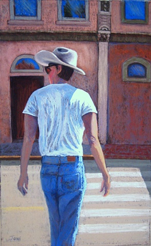 pastel painting of a cowboy in Santa Fe