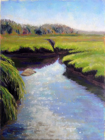landscape painting of sunlight reflections, sparkling on the waters of the tidal creek and marsh
