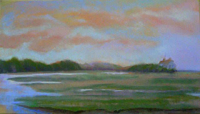 pastel landscape marsh and water