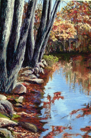 pastel painting, blackstone canal, autumn trees, reflections
