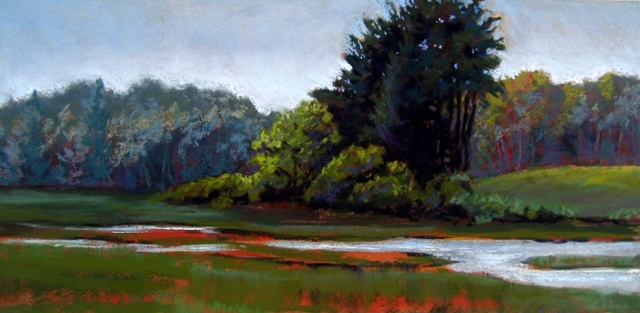 plein air pastel landscape of parsons beach marsh
